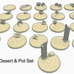 desert01.jpg Download free STL file 32mm Round Bases (x21) Desert theme with Vases and Pots for Dungeons & Dragons or Warhammer 40k tabletop Miniatures • 3D print model, KaerRune
