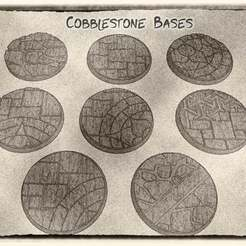 01.jpg Download free STL file 32mm Cobblestone Bases (x8) - for Dungeons & Dragons, Pathfinder, Warhammer and more games. • 3D printing design, KaerRune