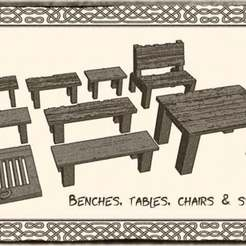 benches02.jpg Download free STL file Tables, benches and chairs for Dungeons & Dragons or Warhammer 40k tabletop Miniatures • 3D printable object, KaerRune