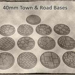 01.jpg Download STL file 40mm Town & Road Bases for Dungeons & Dragons, Warhammer and other Tabletop Games • 3D printing design, KaerRune