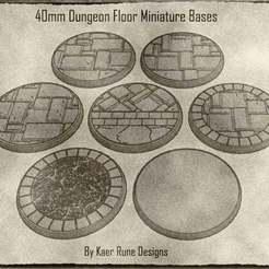 01.jpg Télécharger fichier STL Bases miniatures de 40 mm pour donjons et dragons et autres jeux de table (x7) • Plan pour impression 3D, KaerRune