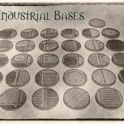 01.jpg Download STL file 40mm Industrial Bases (x31) - For Warhammer 40k, Dungeons & Dragons, Pathfinder and more. • Object to 3D print, KaerRune