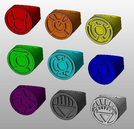 9_rings_display_large.jpg Download free STL file Lantern corps rings • 3D printer design, Clenarone