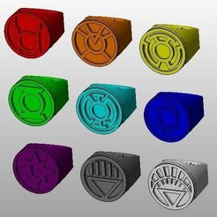 9_rings_display_large.jpg Download free STL file Lantern corps rings • 3D printer design, Clenarone