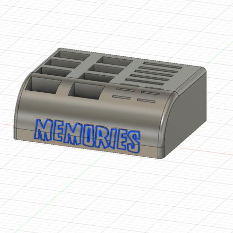 Memory Card Caddy Contoured Short v2.png Télécharger fichier STL gratuit SD, MicroSd et clé USB Caddie / Support • Plan pour impression 3D, SierraTech