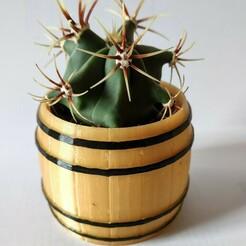 BarrelVasePaint.jpg Download STL file Barrel Ikea cactus pot • 3D printer object, AlexEarp