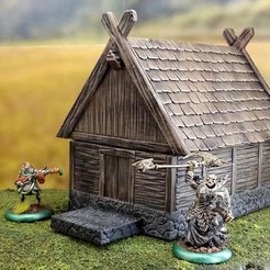 Download free STL file Smaller fantasy viking house • 3D print template, Terrain4Print