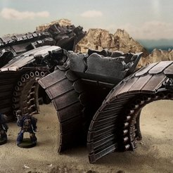 Download free 3D printer designs Gothic spaceship wreck B engines, Terrain4Print