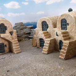 Descargar modelo 3D gratis Pueblo de ciencia ficción del desierto, Terrain4Print