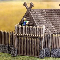Download free STL file Fantasy viking palisade gate (28mm) • Object to 3D print, Terrain4Print