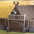 Download free 3D printer designs Fantasy viking palisade gate (28mm), Terrain4Print
