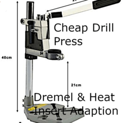 Drill Press.png Download STL file DRILL PRESS HEAT-INSERT ADAPTER • 3D print design, tinker3dmodel