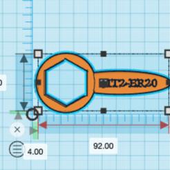 Télécharger fichier impression 3D gratuit ER20 Clé à écrou de serrage ER20, tinker3dmodel