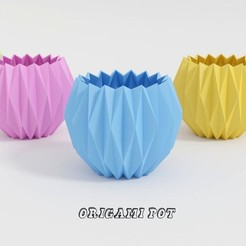 Orimgami pot cap 1.jpg Download free STL file Origami-style pot • Design to 3D print, leonbusta3d