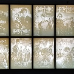 lights off.jpg Download free STL file Framed Harry Potter movie posters lithophane box • Model to 3D print, 3dgenedesigns