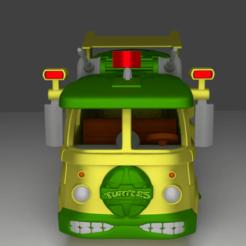 """furgon davanti.png Télécharger fichier STL Volkswagen van du premier dessin animé """"Teenage Mutant Ninja Turtles • Modèle pour imprimante 3D, CoseStraneShop"""