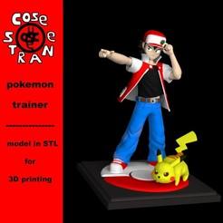 STL file Pokemon Trainer Red Pikachu version 3D print model, CoseStraneShop