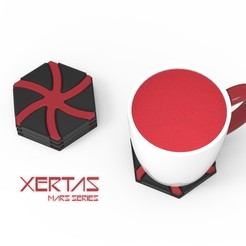 XERTAS 1.jpg Download OBJ file XERTAS - COASTER • Design to 3D print, Queen3D
