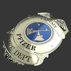 Police Plate.8.jpg Télécharger fichier STL Capitaine Shield du service d'incendie • Plan à imprimer en 3D, lucasurielabate