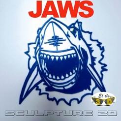 SHARK_IN_THE_WALL-WEB.jpg Download STL file SHARK 2D - SCULPTURE • 3D printing design, el_tio_3D