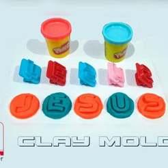 "CLAY_MOLDS__JESUS_FREE.JPG Download free STL file CLAY MOLDS - PLASTILINA - LETTERS OF ""JESUS"" • 3D print design, el_tio_3D"
