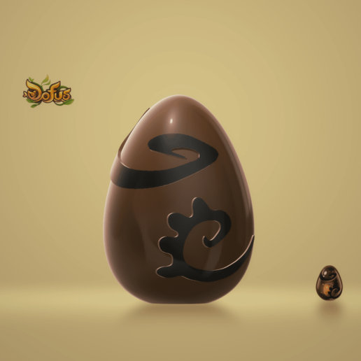 OeufDofusEbeneFront.png Download free STL file Egg Dofus Ebony / Egg Dofus Ebony • 3D printable template, Ayzen