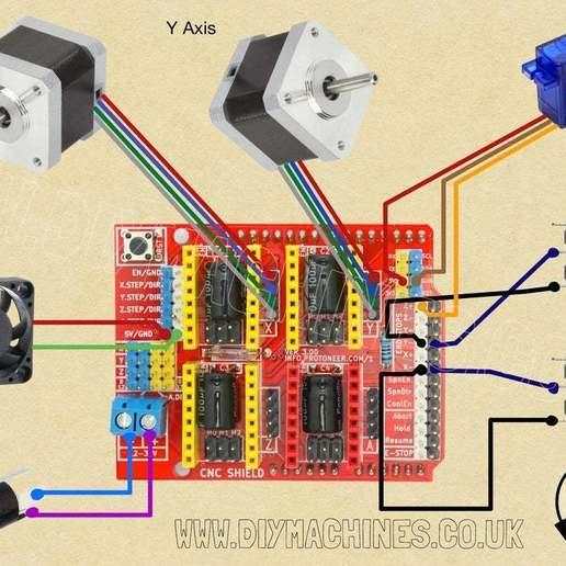 CNC_Drawing_Machine_Wiring_Diagram.jpg Télécharger fichier STL gratuit Machine à dessiner CNC facile à imprimer en 3D - Dessinez sur des gâteaux, des téléphones, du papier, des chemises   Traceur Arduino GRBL • Modèle pour imprimante 3D, DIYMachines
