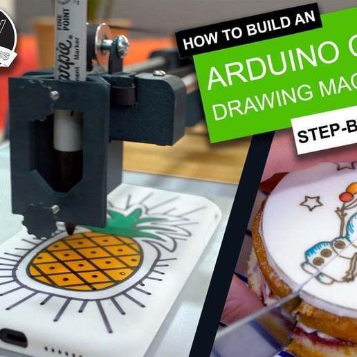 Thingiverse_Cover_Card.jpg Télécharger fichier STL gratuit Machine à dessiner CNC facile à imprimer en 3D - Dessinez sur des gâteaux, des téléphones, du papier, des chemises   Traceur Arduino GRBL • Modèle pour imprimante 3D, DIYMachines