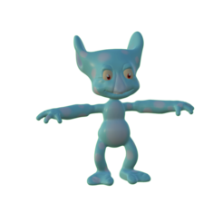 render.png Download OBJ file Goblin monster with patches in TPose • 3D printable template, MarcoMota3DPrints