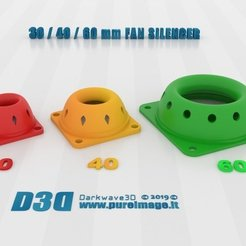 Free 3D printer designs 30-40-60MM FAN SILENCER LP, darkwave3d