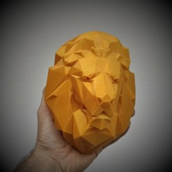 Download 3D print files Lion head Low Poly (EASY PRINT NO SUPPORT), happens