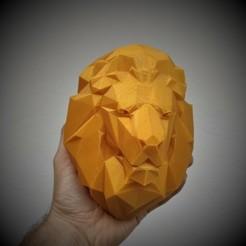 Télécharger fichier STL Tête de lion Low Poly (FACILE A IMPRIMER, PAS DE SUPPORT) • Objet pour impression 3D, happens