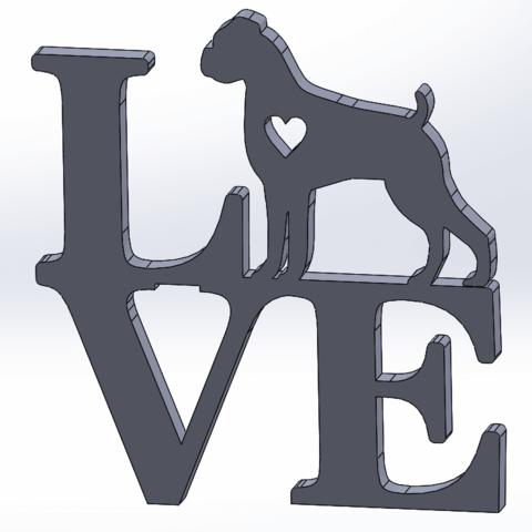 Imprimir en 3D Love Boxer - Deutscher Boxer, happens