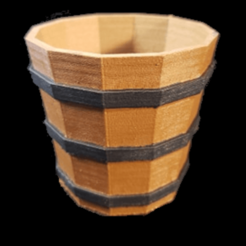 WoodenBasketPainted.png Download STL file Wooden Basket Bucket • 3D printing template, DigitalNorth3D