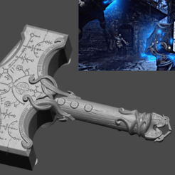 8.png Download STL file Thors Hammer Mjolnir From God of War - Fan Art 3D print model • Model to 3D print, 3D-PrintStore