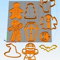 Descargar archivo 3D gratis set cookie cutters halloween, Surfer_Calavera