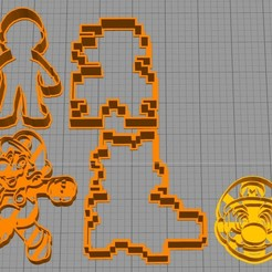 Download free STL set cookie cutter mario bros, Surfer_Calavera