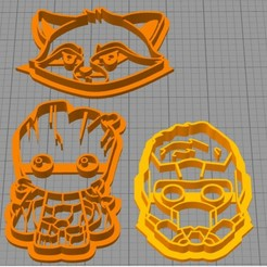 Descargar diseños 3D gratis set cookie cutter guardian of galaxy, Surfer_Calavera