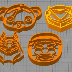 Download free 3D printing templates set cookie cutter fortnite, Surfer_Calavera