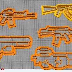 Download free 3D model set cookie cutter guns, Surfer_Calavera