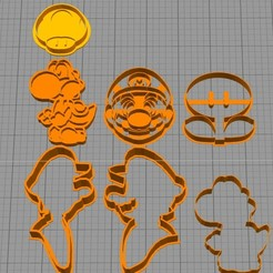 Download free 3D printing designs set mario bros 2 cookie cutter, Surfer_Calavera