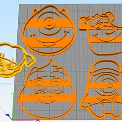 Download free 3D printing models set cookie cutter monsters inc, Surfer_Calavera