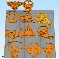 Download free 3D printer designs cookie cutter set harry potter, Surfer_Calavera