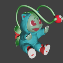Bulbasaur1.png Download STL file BULBASAUR ON A COSTUME • 3D print object, SnK3D