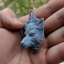 Download STL file Ornate wolf keychain, trajan1990