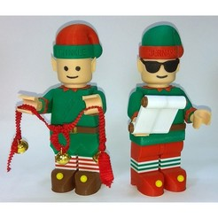 Download free 3D printer files Jumbo Lego Christmas - Elves - Bernard and Twinkle, HowardB