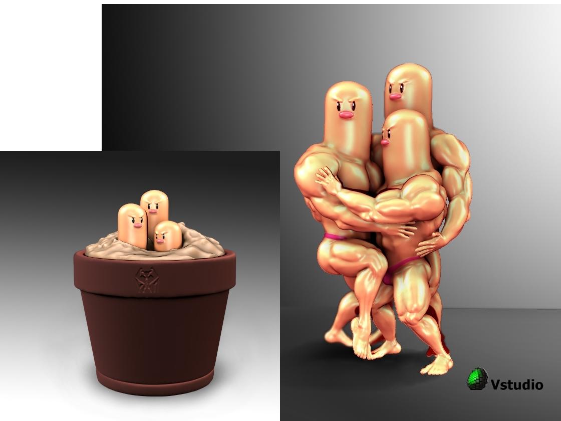 dugtrio presentacion final logo12.jpg Download STL file Dugtrio Funny 3D print model • 3D print object, Vstudios