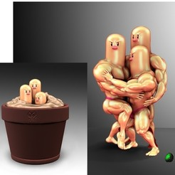 Download STL file Dugtrio Funny 3D print model, Vstudios