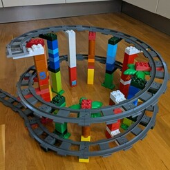 PXL_20210112_125901863.jpg Download STL file LEGO Duplo compatible spiral elevation train track • 3D printing template, sfthomas42