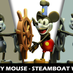 Descargar archivos STL Figura de Fanart Mickey Mouse - Steamboat Willie 3D, neko_art_96